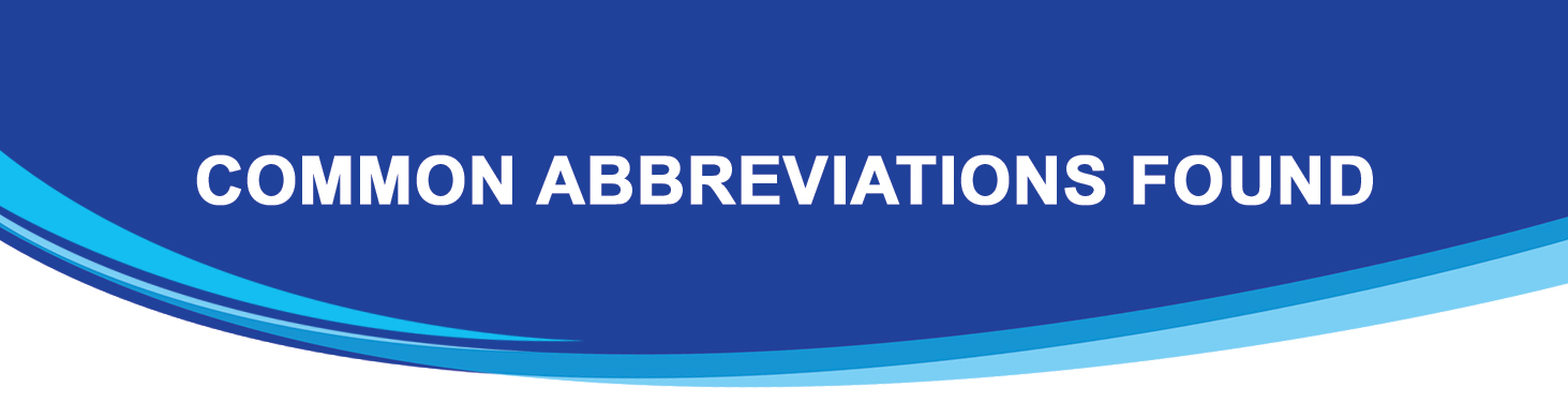 Common Abbreviations Header