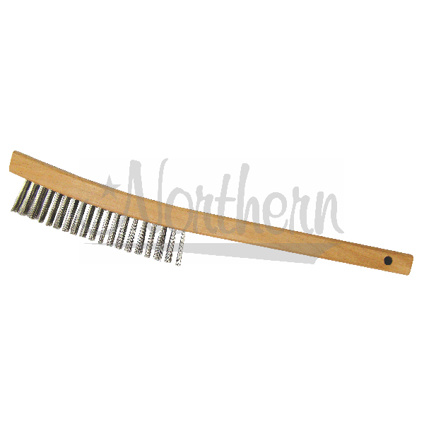 RW0211 3 Row Steel Brush - Wood Handle