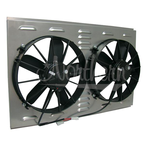 "Z40082 Dual High CFM 12"" Electric Fan & Shroud - 17 3/8 x 25 3/4 x 4 3/8"