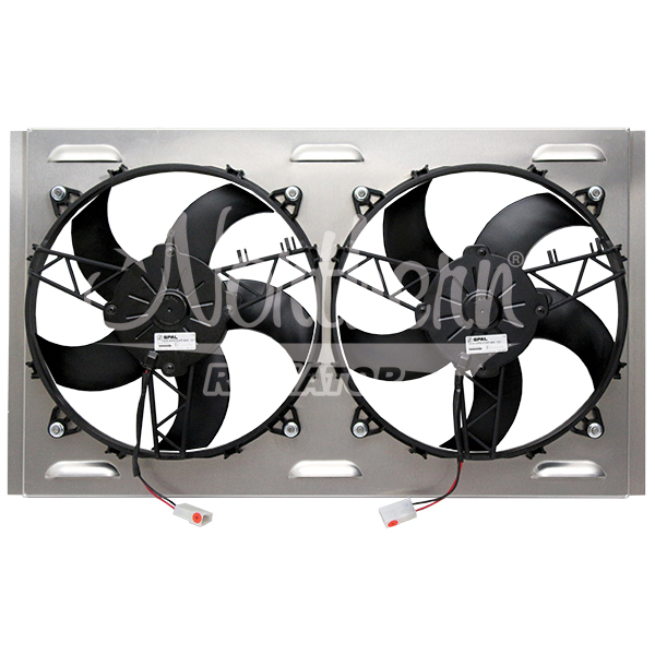 "Z40121 Dual High CFM 11"" Electric Fan & Shroud - 24 1/8 x 14 7/8 x 3 1/4"