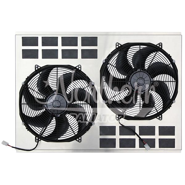 """Z40124 DUAL HIGH CFM 16"""" ELECTRIC FAN & SHORUD - 23 3/8 x 33 3/4 x 4 5/8"""