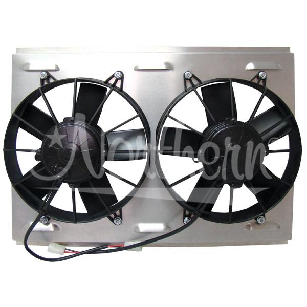 "Z41038 Dual High CFM 10"" Electric Fan  Shroud -14 7/8 x 22 1/8 x 4 1/4"