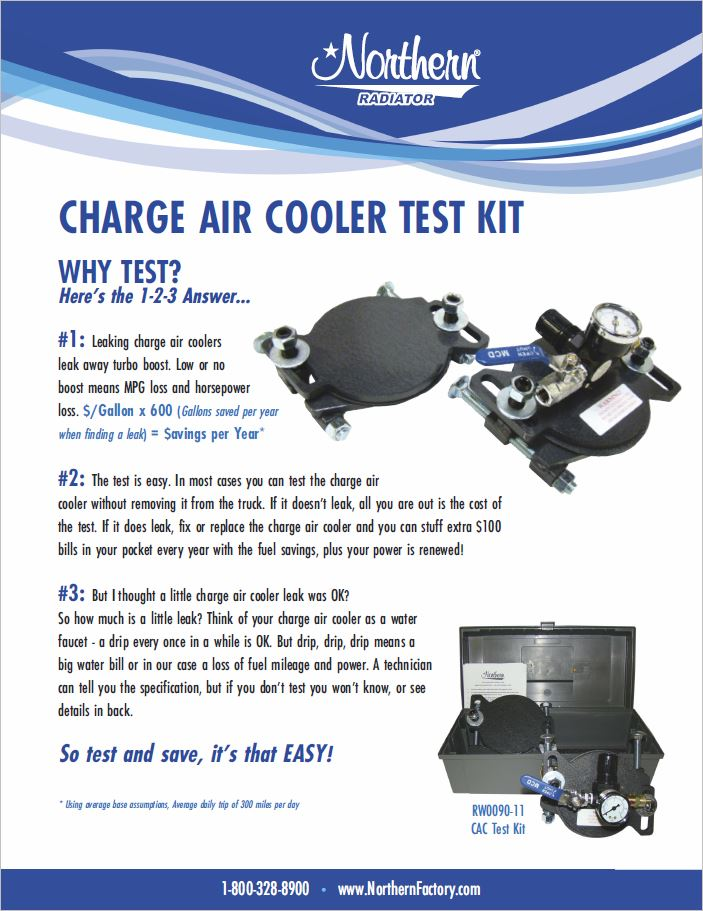 Northern Radiator Charge Air Coolers Test Kits
