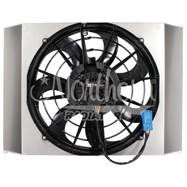 """Z40136 Single 16"""" 500W Brushless Fan & Shroud - 17 3/8 x 25 9/16 x 3 1/2"""