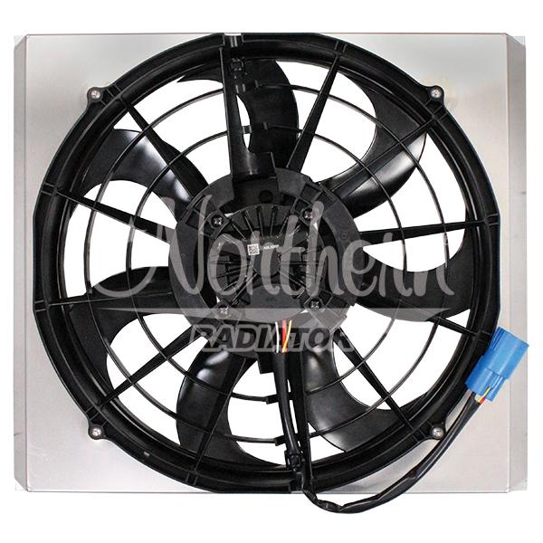 """Z40137 Single 16"""" 500W Brushless Fan & Shroud - 17 3/8 x 20 3/8 x 3 1/2"""